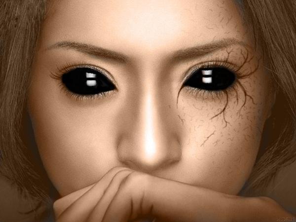 Image result for Μυστηριώδεις άνθρωποι με... ολόμαυρα μάτια!