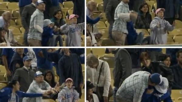 diaforetiko.gr : dodger game kid dropped 110601 600x338 Τι γίνεται όταν ένας μπαμπάς θέλει να πανηγυρίσει και ξεχνάει ότι κρατάει την κόρη του στα χέρια του! (βίντεο)