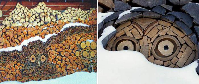 diaforetiko.gr : wood pile art 5 Σωροί από καυσόξυλα μετατρέπονται σε.. έργα τέχνης! Όταν η δημιουργικότητα παντρεύεται με την έμπνευση…