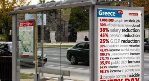 london bus 600x329 Φωτογραφία σε στάση του Λονδίνου κάνει το γύρο του κόσμου και αποκαλύπτει τις δραματικές συνέπειες της ελληνικής κρίσης!