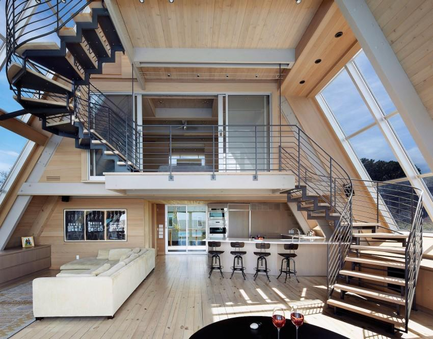 A-Frame-beach-house-living-and-dining-areas