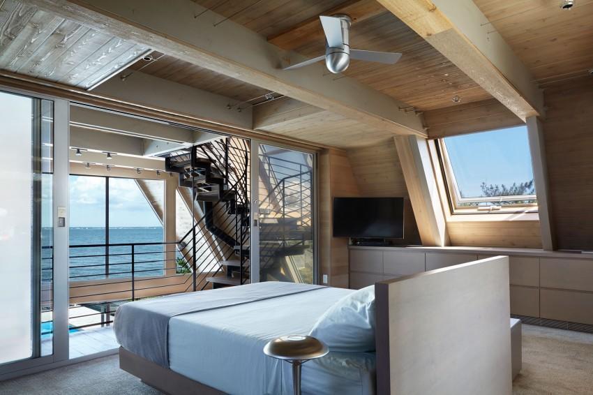 A-Frame-beach-house-master-bedroom