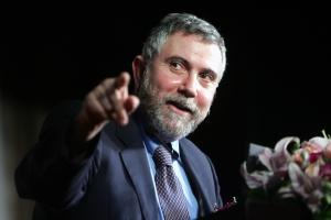Nobel Prize winning economist Paul Krugman gestures during his speech at a forum in Shanghai, China, May 12, 2009.  Although the global economic downturn was stabilizing, the stability was at a very low level, and a recovery was still very far ahead, Paul Krugman, Princeton Universitys Nobel Prize-winning economist, said at a forum in Shanghai Tuesday (May 12, 2009).