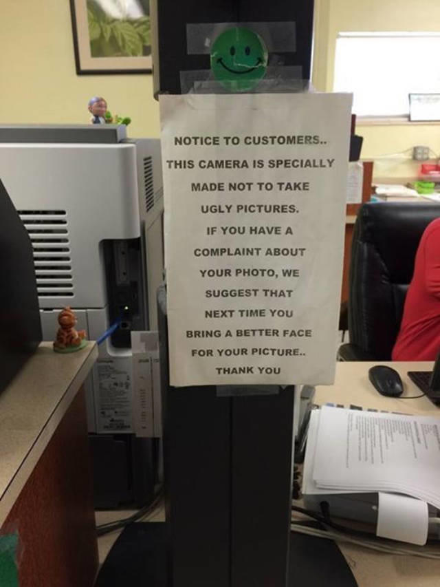 This is just one sign at a DMV.