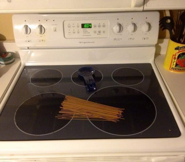 The spouse was asked to put spaghetti on the stove.
