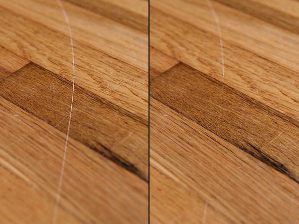 "Improve the appearance of your hardwood floors by rubbing them with raw walnuts. This will help ""erase"" marks, depending on the type of wood."