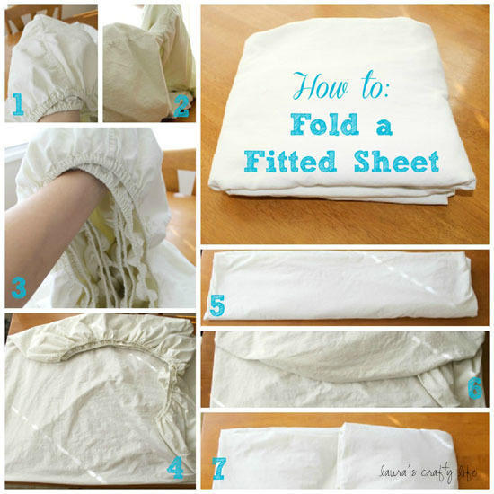 Tuck the corners of your fitted sheet into one another to fold it correctly.