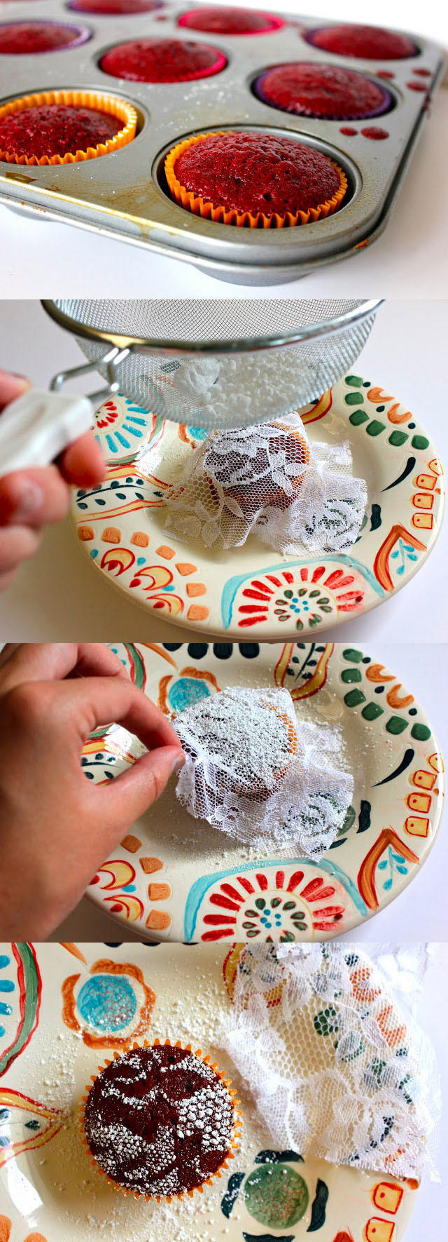 You can make one-of-a-kind gourmet pastries with lace and confectioners sugar.