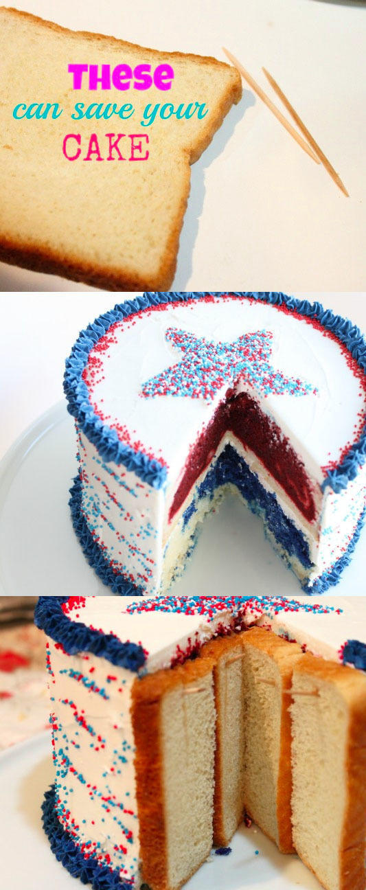 Prevent a perfectly good birthday cake from going stale with toothpicks and bread.