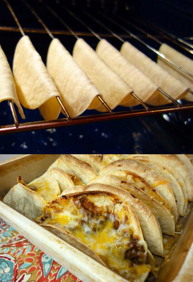 To make hard taco shells, drape tortillas over your oven racks like this.