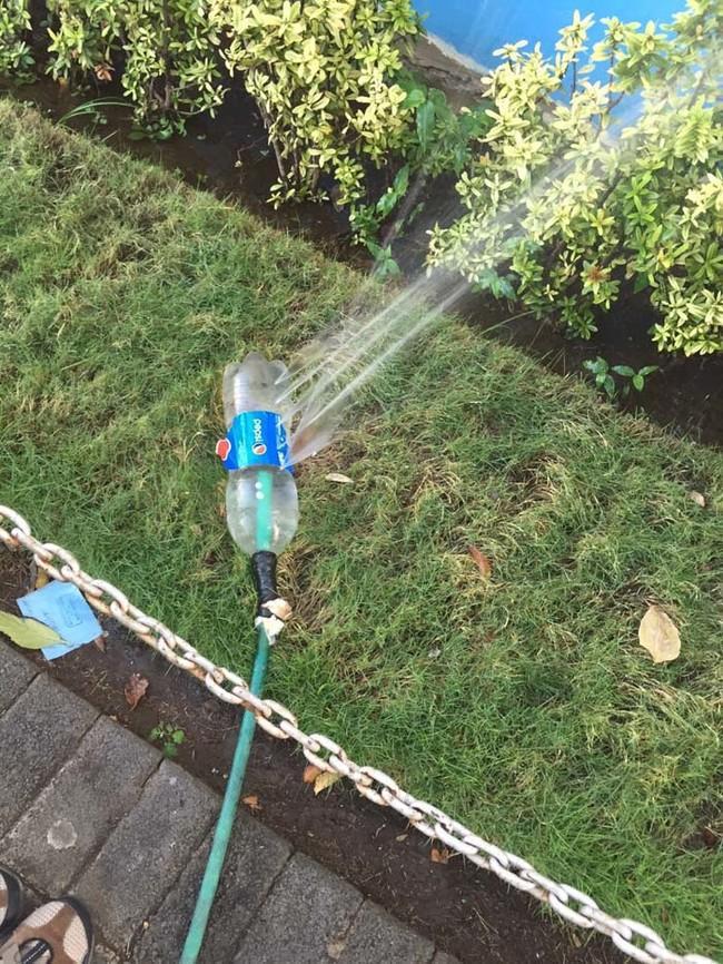 Don't have a sprinkler? Poke holes in a soda bottle and slide in your hose.