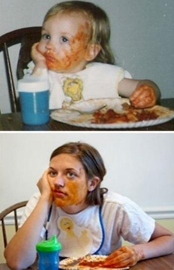 Eating spaghetti is difficult, no matter how old you are.