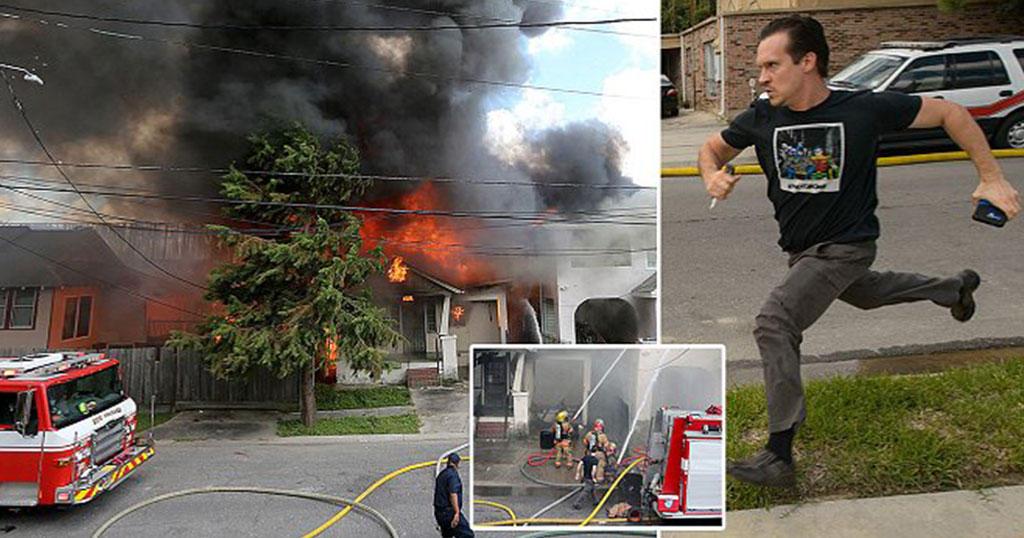 Συγγραφέας ορμάει στο φλεγόμενο σπίτι του για να σώσει το λάπτοπ του