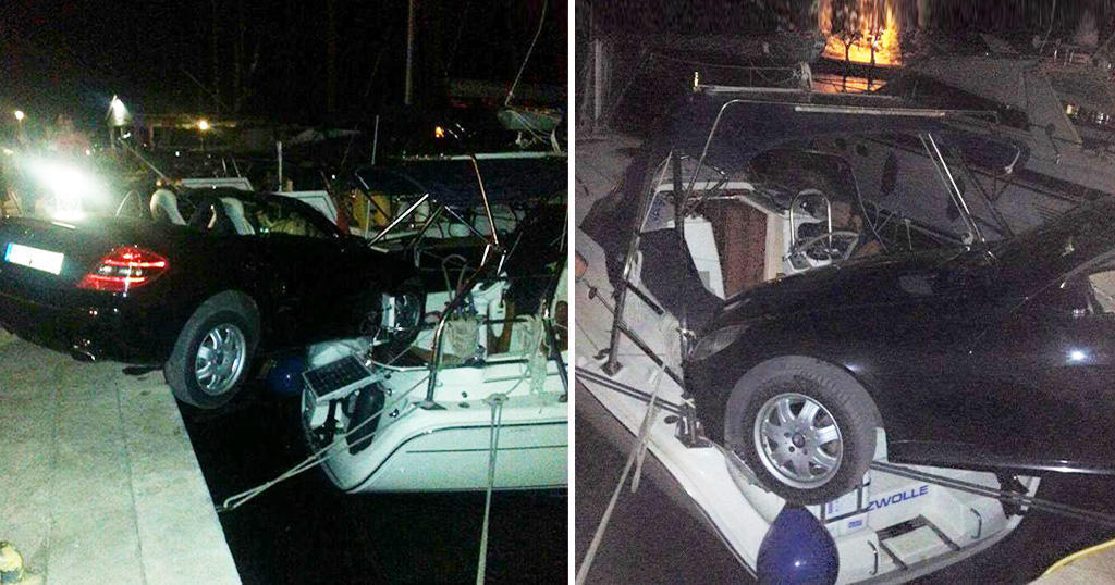 Αυτοκίνητο μάρκας Μερσεντές «προσγειώθηκε» πάνω σε κότερο στο λιμάνι του Γαλαξιδίου.