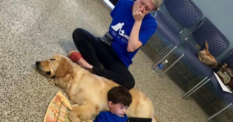 Ο 5χρονος γιος της είναι ξαπλωμένος πάνω στο σκύλο και κοιτάει την οθόνη. Τότε η μητέρα ξεσπάει σε λυγμούς…