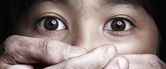 Scared little asian girl