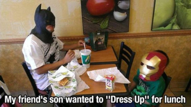 When your kid wants to dress up like a hero for the day...
