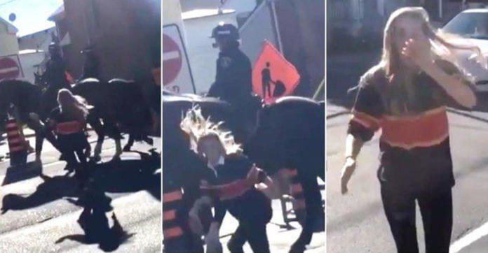 Νεαρή γυναίκα χτυπάει το άλογο της αστυνομίας αλλά σε καμιά περίπτωση ΔΕΝ περιμένει ΑΥΤΗ την αντίδραση από το ζώο!