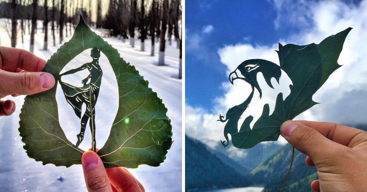 Καλλιτέχνης δημιουργεί εκπληκτικές απεικονίσεις πάνω σε φύλλα.