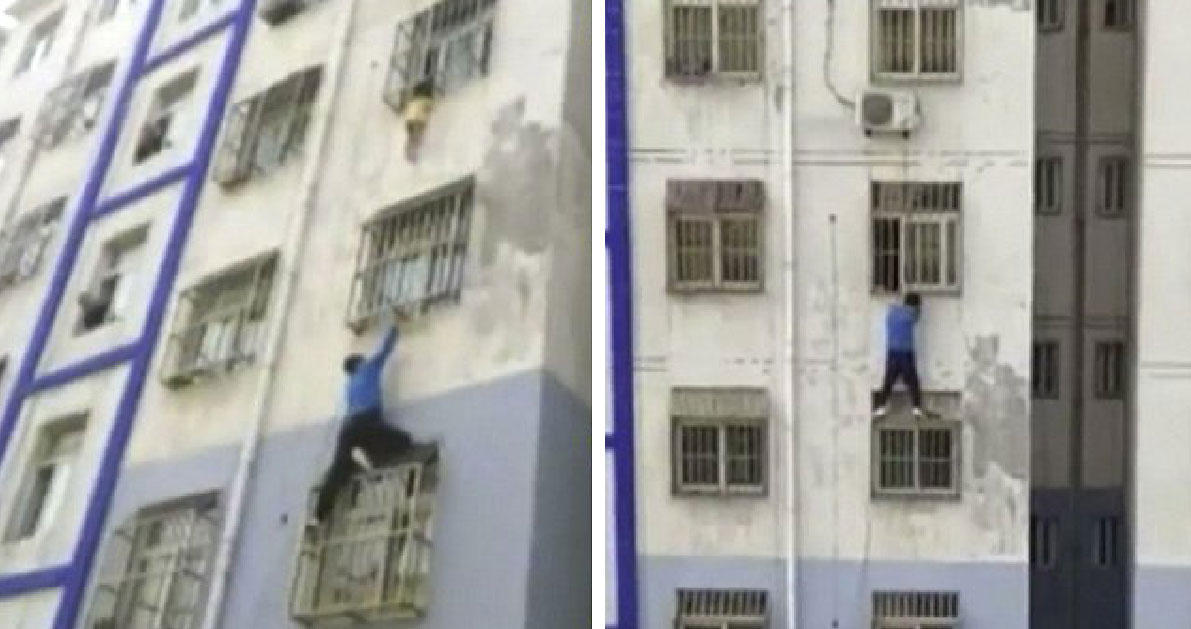 Aληθινός «Spiderman» σκαρφαλώνει πολυκατοικία για να σώσει ένα μικρό παιδάκι που κινδυνεύει