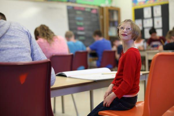 Image #: 40560907 *** EXCLUSIVE - VIDEO AVAILABLE *** KITCHENER, ONTARIO - OCTOBER 2015: 12-year-old Kenadie Jourdin-Bromley poses in her seventh grade classroom in Kitchener, Ontario in October 2015. AT TWELVE years old tiny Kenadie Jourdin-Bromley stands at just 39.5 inches tall and weighs the same as a two year old. The bubbly schoolgirl has defied doctors since the day she was born weighing just 2.5lbs and 11 inches from head to toe. Kenadie's mum, Brianne Jourdin, 36, was told her daughter wouldnt survive more than a few days. However, despite having learning difficulties and fragile, thin bones - Kenadie plays hockey, swims, and functions in school. Ruaridh Connellan/Barcroft Media /Landov