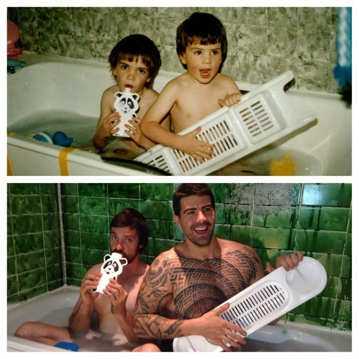 Matthew and James Houghton were scratching their heads, trying to figure out what to get their parents for an anniversary gift. They chose to recreate childhood photos as grown men.