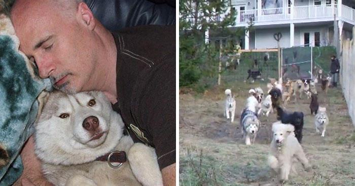 4ac9d5b49fb9 Ένας άνδρας που ονομάζεται Mark Starmer κατέληξε να μαζέψει 45 σκυλιά από καταφύγια  ζώων και να τα φιλοξενεί στο σπίτι του στον Καναδά.