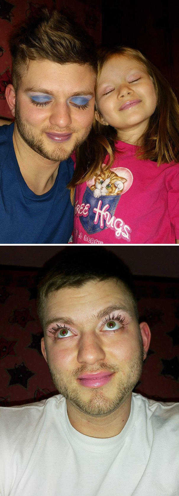 You're not a true single father unless you let your daughter practice makeup.