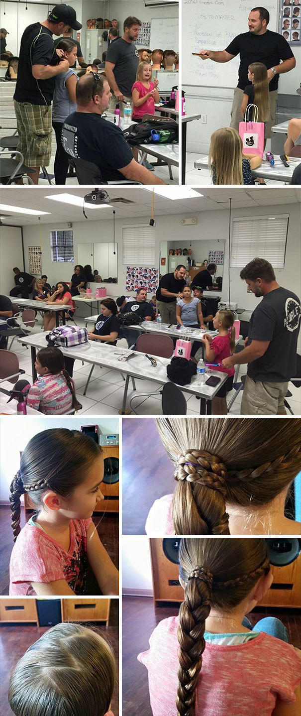 After he became a single dad, he learned how to do his daughter's hair.