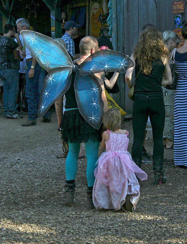 A single father and his daughter spotted at the Renaissance Festival.