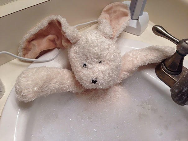 When your daughter asks you to give her stuffed bunny a bath.