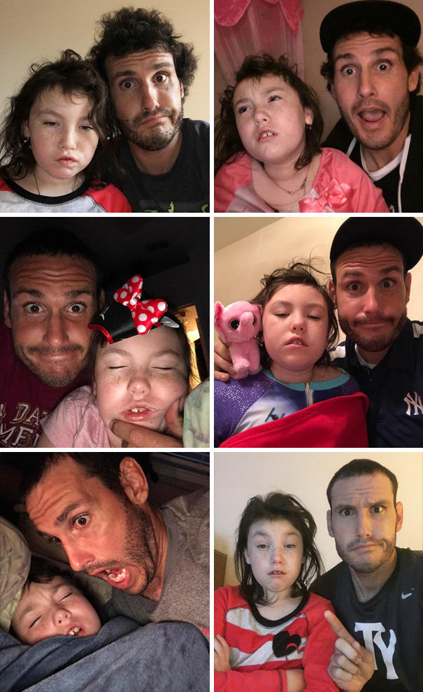 This single dad takes a daily selfie with his daughter right after waking up his daughter.