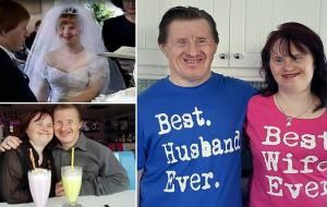 PIC FROM Caters News - (PICTURED: Maryanne and Tommy wearing their best husband/ wife tops) - A Downs Syndrome couple, thought to be the first get married, have proven doubters wrong after 22 years of wedded bliss and a huge Facebook following of people inspired by their heartwarming story.  Maryanne and Tommy Pilling first met at a day centre in Southend in 1990 and were instantly besotted with each other. The pair dated for around 18 months before Tommy popped the question and despite criticism, the couple went on to tie the knot at St Marys Church in Shoeburyness in July 1995. Now, 27 years later, Maryanne and Tommy are still going strong and a Facebook page, set up by Maryannes sister, Lindi Newman, which follows the couples romance, has racked up thousands of followers. SEE CATERS COPY.
