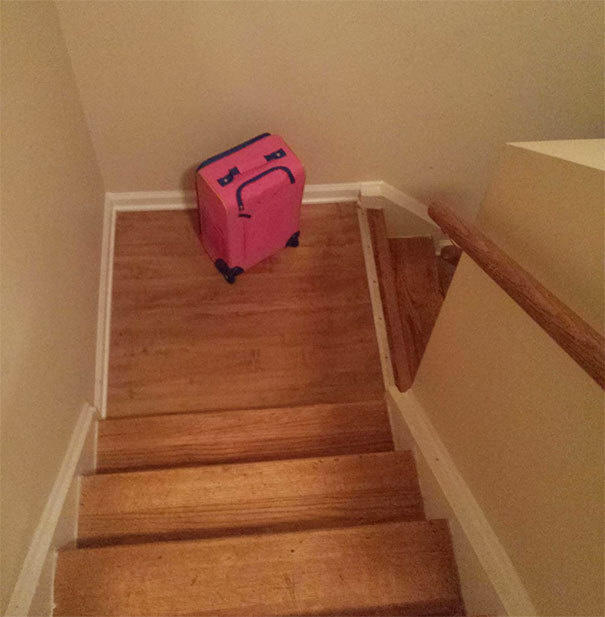 Her suitcase looked really sad when it was left on the stairs.