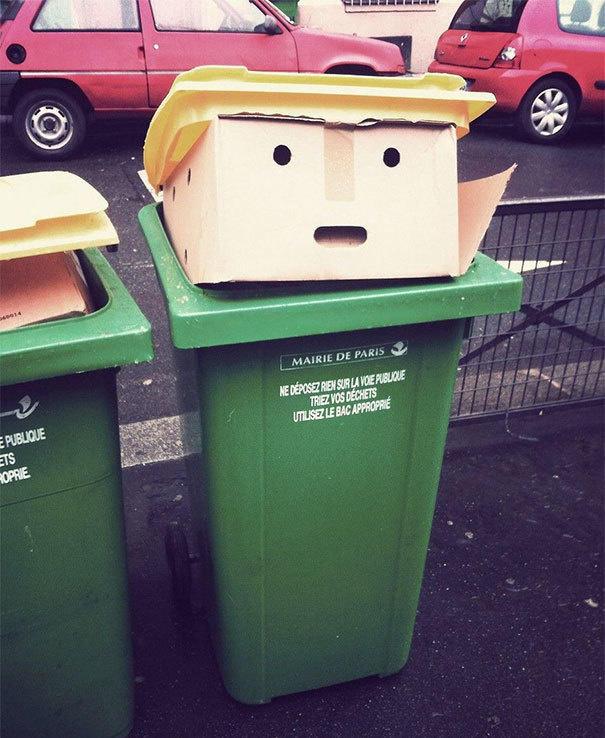 A bin that looks like Donald.