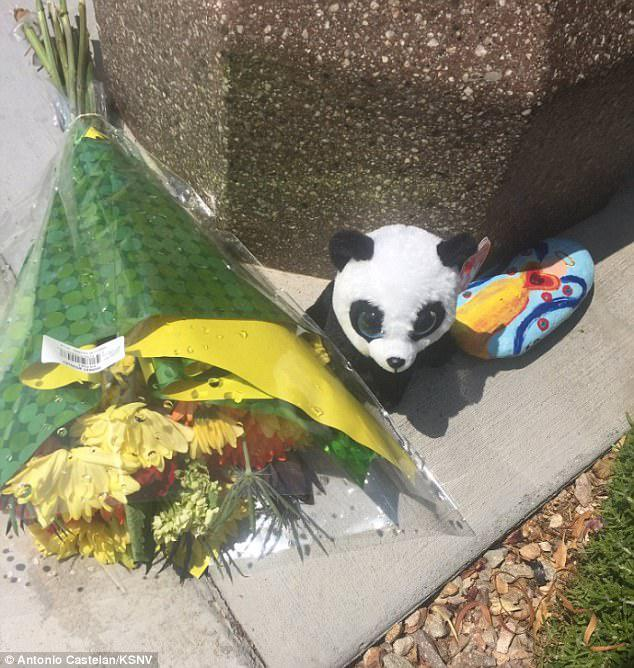 A makeshift memorial sat outside the Las Vegas, Nevada residence Tuesday