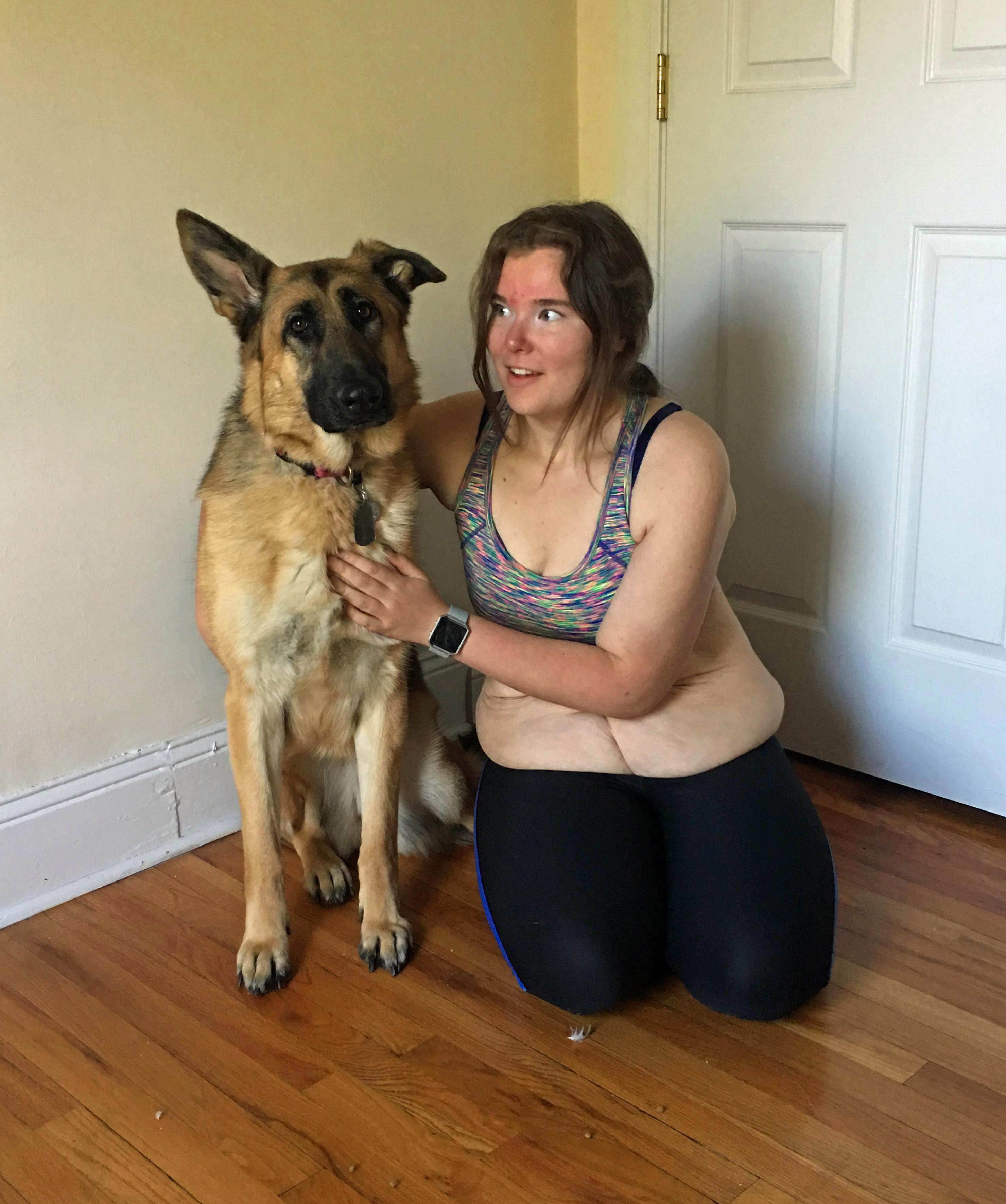 Jenna pictured with her beloved Nadia. The teen began walking the pup and built her fitness levels up