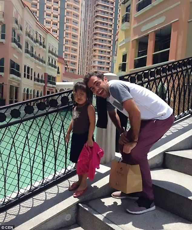 Her hero:Anabelle, seven, was finally rescued by a charity aged five, where Argentinian volunteer Gonzalo Erize made it his mission to raise the funds for her to have surgery