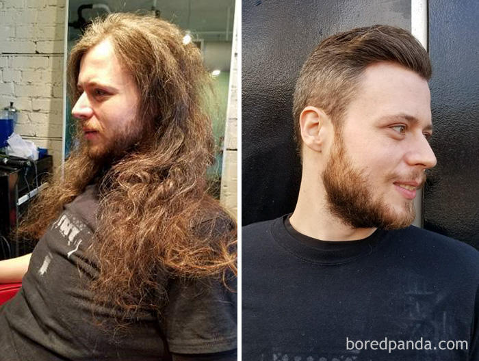 He's Had Long Hair Since He Was 14 Years Old And Today We Did The Big Chop And Donated It