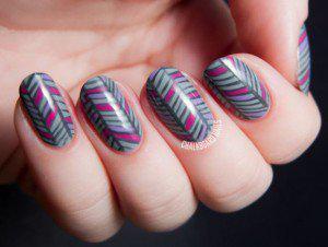 stripe nails winter