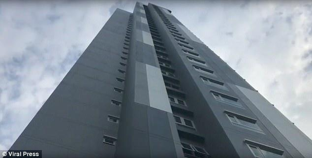 Horrifying: She went into labour on Tuesday and after giving birth, admitted to throwing her newborn son from the 17th floor of this building in Pattaya, Thailand