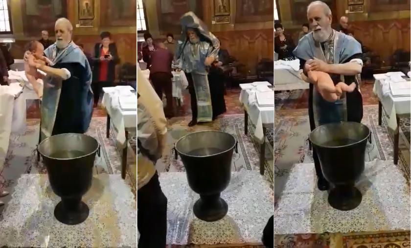Ιερέας παθαίνει νευρικό κλονισμό από το κλάμα του μωρού που βάφτιζε