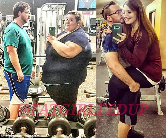 Incredible: Lexi Reed celebrated her 303lb weight loss by sharing a photo her husband Danny lifting her up alongside another image of them before they lost a combined 392lbs