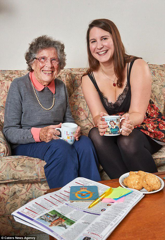 Best of friends:Alexandra Knox, 27, from Newcastle, moved in with 95-year-old RAF veteran Florence Smith in south-west London when she started a Masters degree