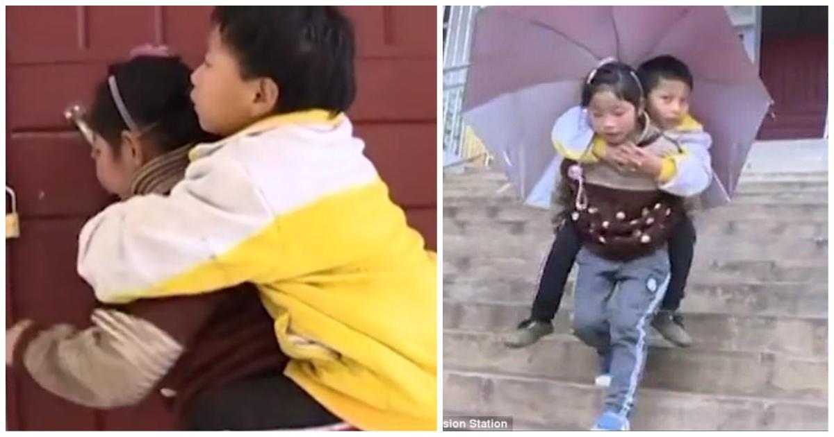 9χρονο κοριτσάκι κουβαλάει κάθε μέρα τον ανάπηρο αδερφό της στο σχολείο