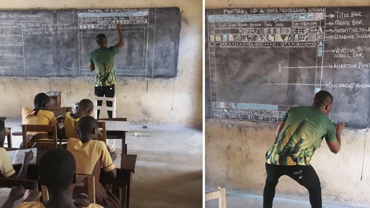 Δάσκαλος στην Γκάνα διδάσκει Πληροφορική σε μαυροπίνακα και ζωγραφίζει στο χέρι όλο το Word