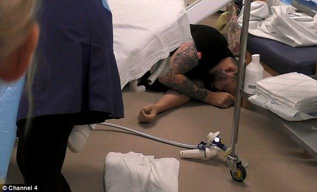 It's almost too much for Ben who suddenly collapses, dropping to the floor unconscious by the bedside