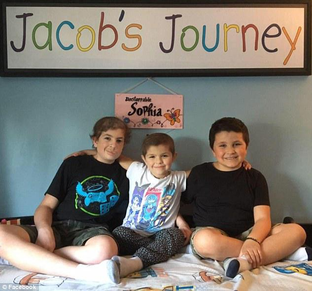 The Randells were tested for the problematic gene after learning of the genetic nature of Jacob's disease. While Liam, seven,  (right) was negative, his sister Sophia tested positive