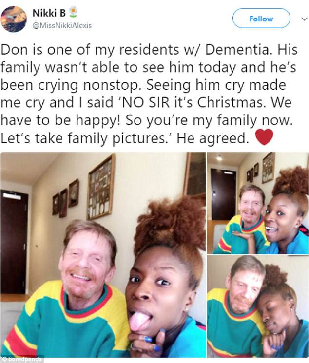This carer made one of her residents with dementia's Christmas as she posed for pics with him when his family couldn't make it in for a visit