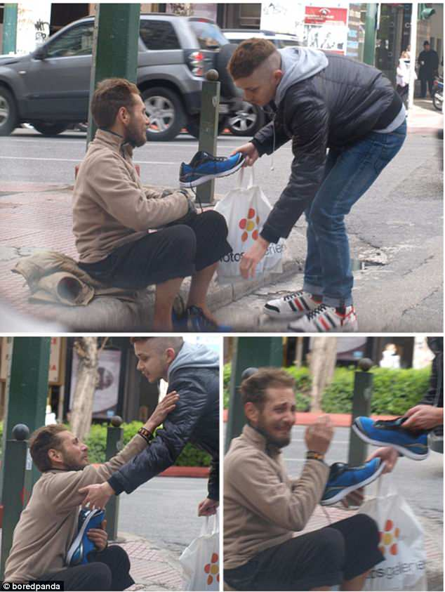 A homeless man was left overwhelmed when a kind stranger presented him with a pair of shoes